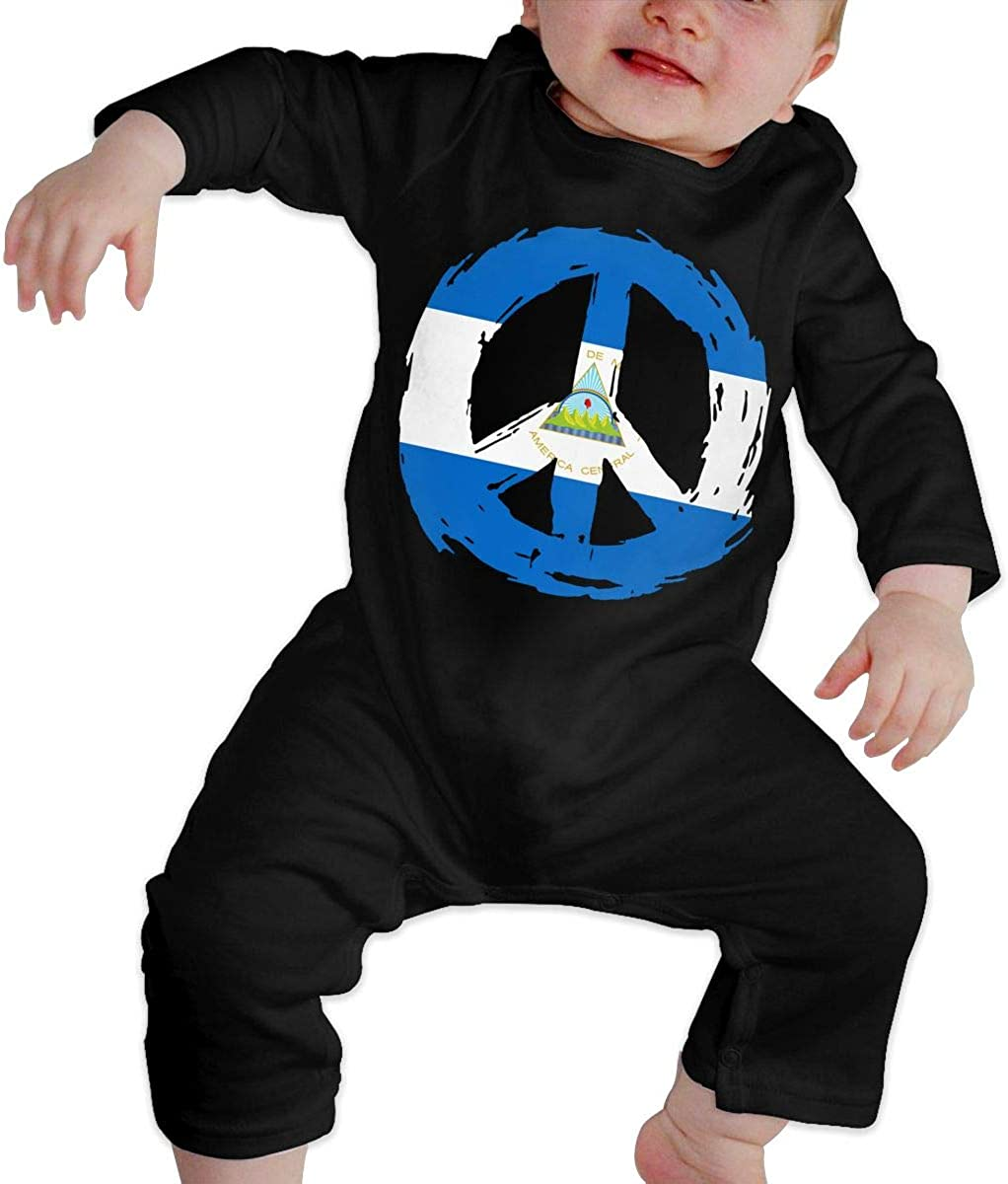 BKNGDG8Q Toddler Baby Boy Romper Jumpsuit Nicaragua Flag Peace Organic One-Piece Kid Pajamas Clothes