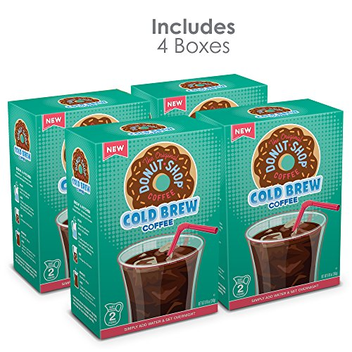 The Original Donut Shop, Cold Brew Coffee, Coarse Ground, Makes 8-48oz. Pitchers of Real Cold Brew Coffee, (4 boxes of 4 filters total of 16 SteePack Filters)