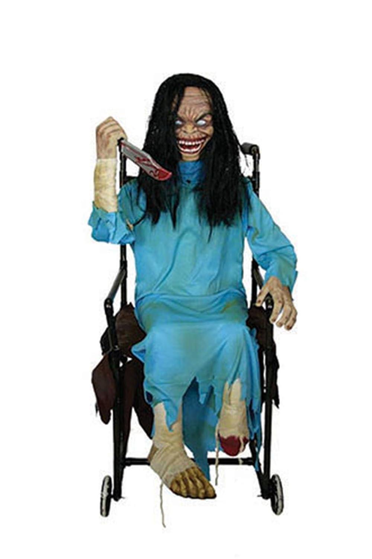 mágica fiesta - Decoración de Halloween Horror muñeca en silla de ruedas con luz de sonido de movimiento, 1 STK., 120 cm, multicolor: Amazon.es: Juguetes y ...