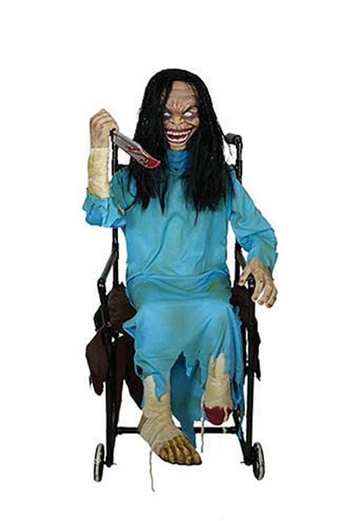 mágica fiesta – Decoración de Halloween Horror muñeca en silla de ruedas con luz de sonido