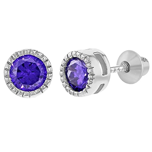 9c485f7de Image Unavailable. Image not available for. Color: 925 Sterling Silver  Round CZ Bezel Screw Back Earrings for Baby Girls