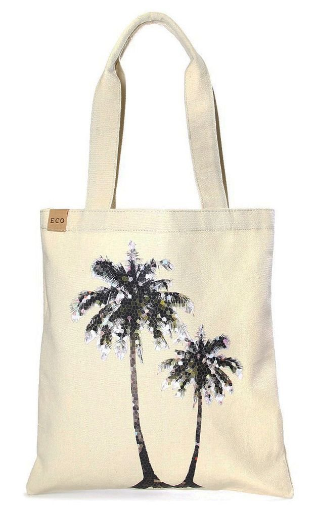 12 in by 14in Cotton Eco Graphic Tote Bag - Personalization Available (Palm Tree)