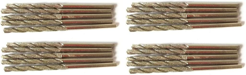 Diamond Drill Bit 2mm Set 20 Pcs Jewelry Beach Sea Glass Shells Gemstones 20 Pieces 2 mm Twist Bits Kit Pack by Drilax