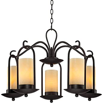 Onyx Faux Stone Candle 30u0026quot; Wide Indoor Outdoor Chandelier