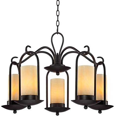 Onyx Faux Stone Candle 30 Wide Indoor Outdoor Chandelier Franklin