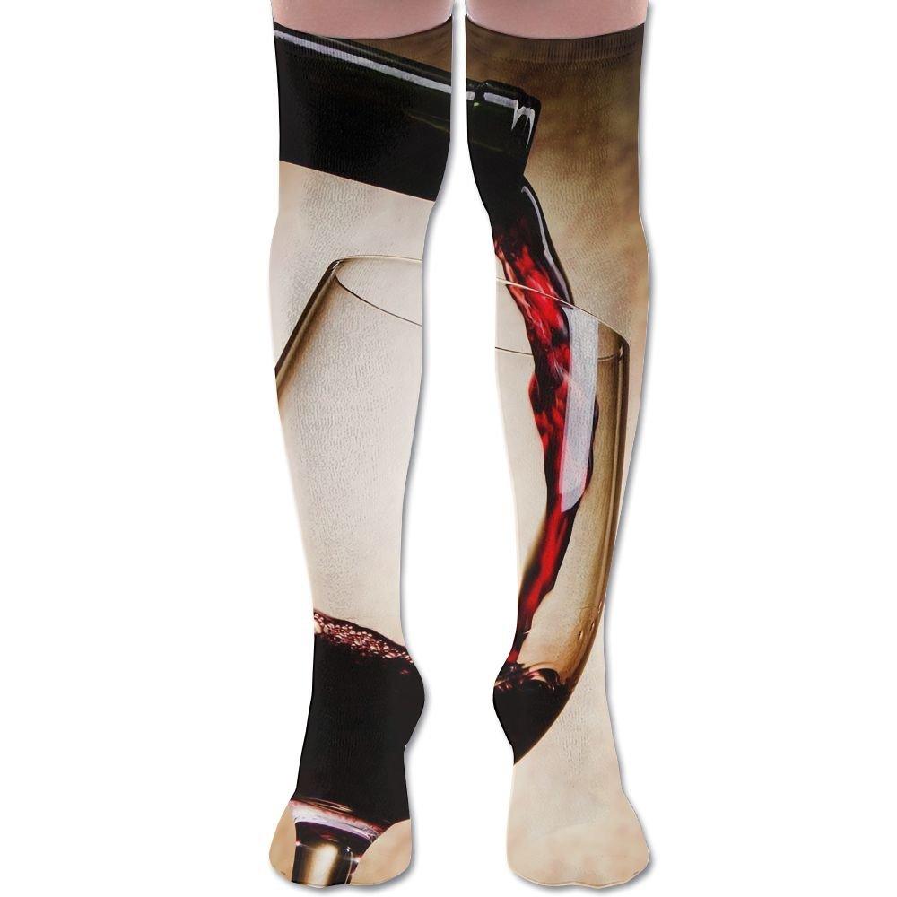 Unisex Football Socks Red Wine Glass Bottle Art Knee-Highs Long Socks