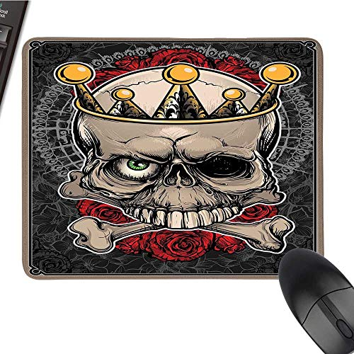 GothicCustomize Mouse padSkull with Crown Roses Bones Dead King Halloween Illustration ArtCustomized Mouse Pad 9.8