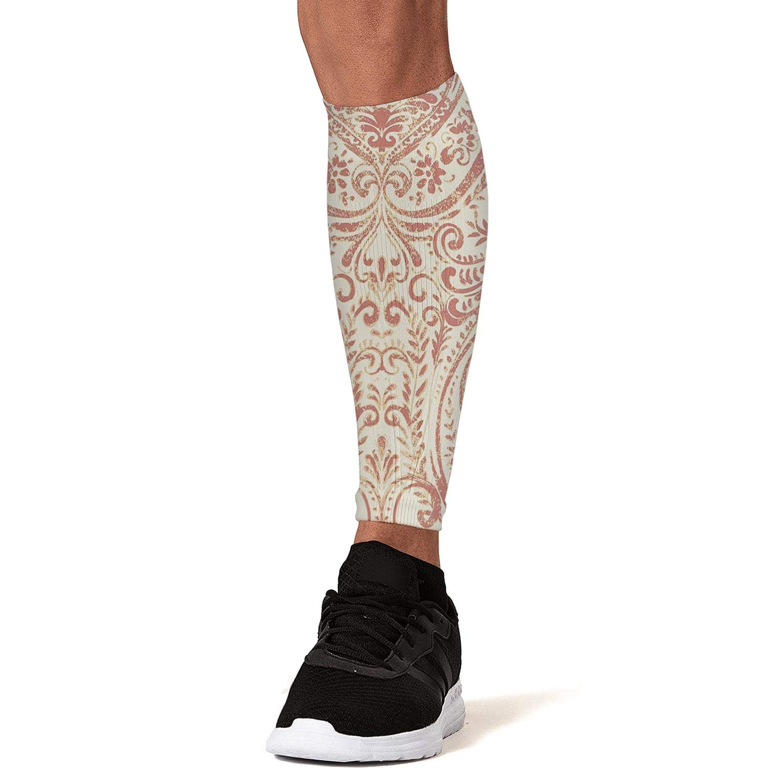 Smilelolly coral Calf Compression Sleeves Helps Pain Relief Leg Sleeves for Men Women