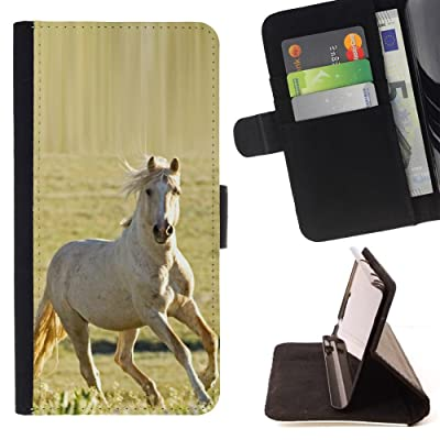 FJCases Blanco Caballo Semental Animal Carcasa Funda Billetera con Ranuras para Tarjetas y Soporte Plegable para Motorola Moto E4