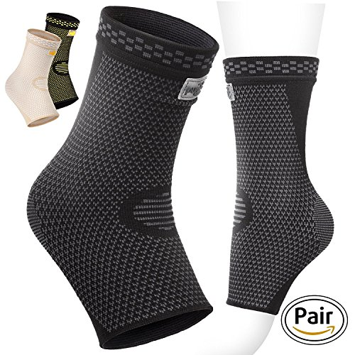 PURE SUPPORT Ankle Sleeve Brace Black Beige (Black, Medium) by Pure Support