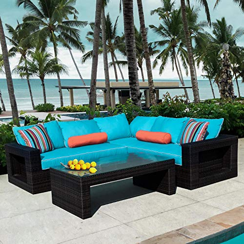 Lakeview Outdoor Designs Gentilly 3 Piece Wicker Patio Sectional Set W/Left Arm Loveseat & Sunbrella Canvas Aruba Cushions