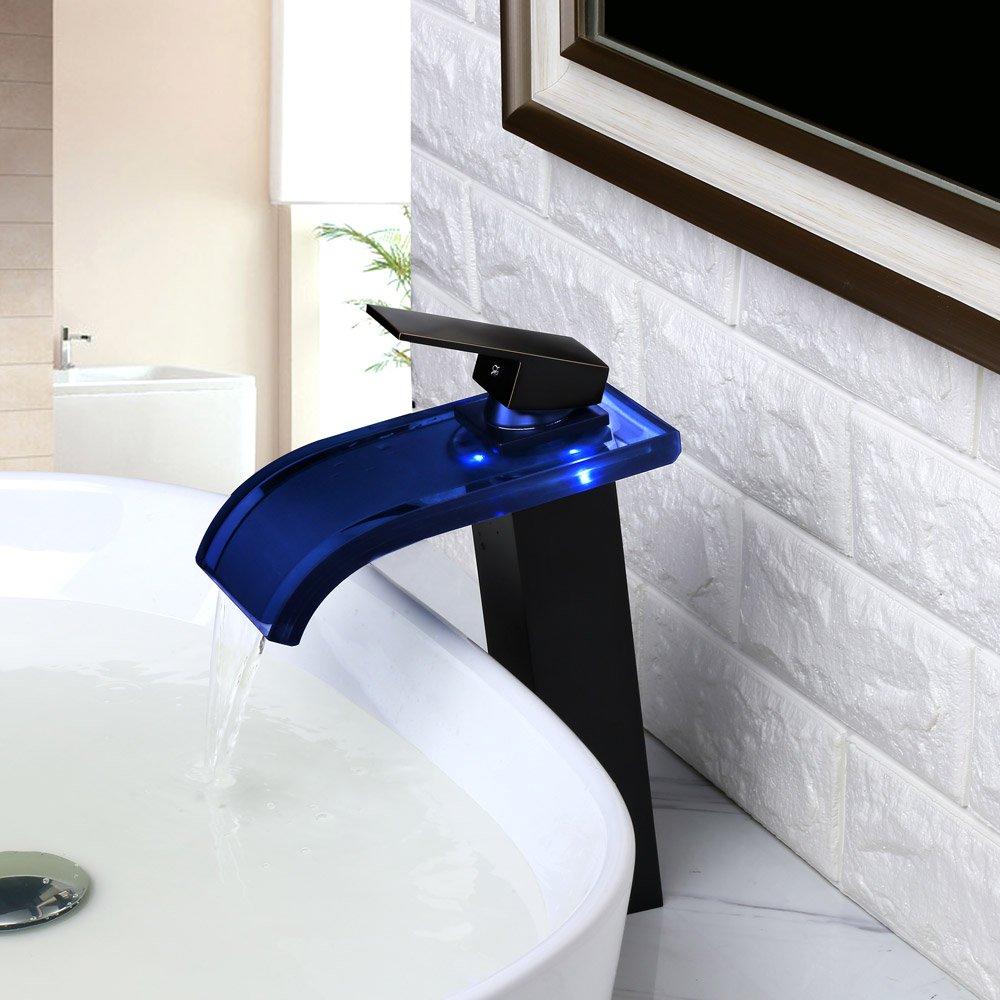 Grifo de ba/ño moderno con cascada LED de cristal de KunMai