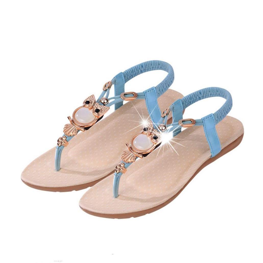Sannysis Damen Sandalen,Rhinestone -Eulen Suuml;szlig;e Klippzehe Strand-Schuhe  41|Blau