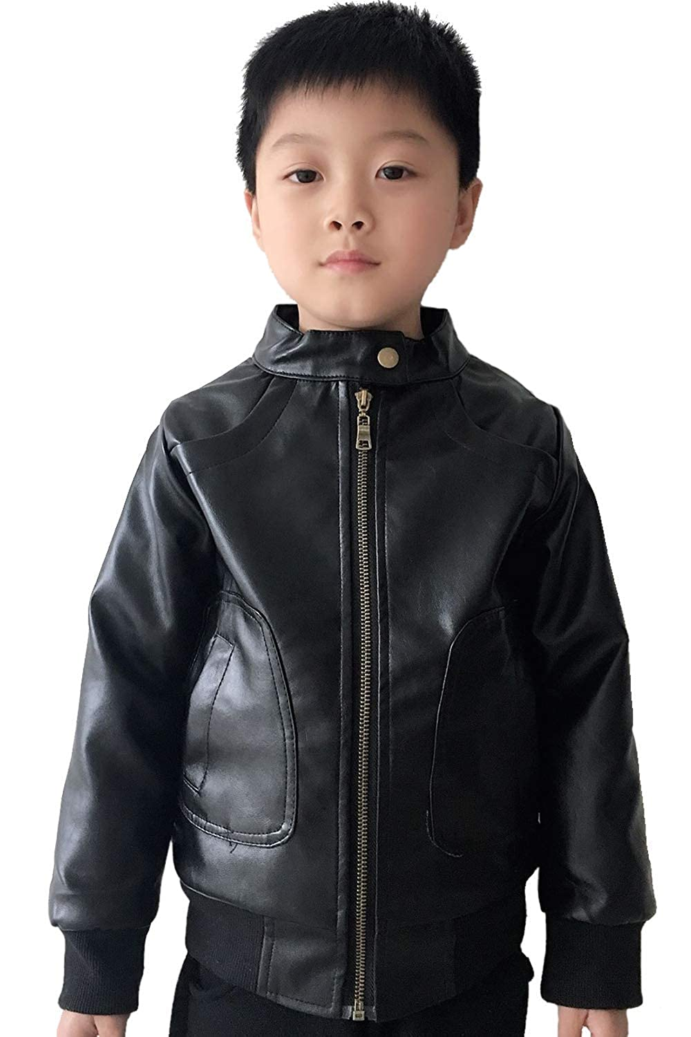 T LUCKFACE Boys Trendy Stand Collar PU Leather Moto Jacket Leather Coat 3-12