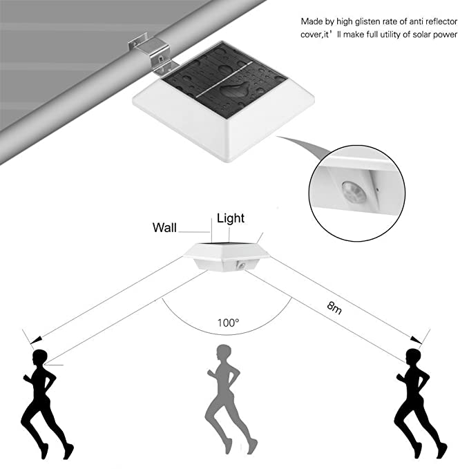 CDQ Solar Sensor de movimiento luz al aire libre 150LM brillante Diseño/PIR Sensor Solar Powered LED/impermeable Durable/Valla pared DriveWay jardín Patio ...