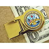 Coin Money Clip - Washington Quarter Colorized with the Army Emblem | Brass Moneyclip Layered in Pure 24k Gold | Holds Currency, Credit Cards, Cash | Genuine U.S. Coin | Certificate of Authenticity
