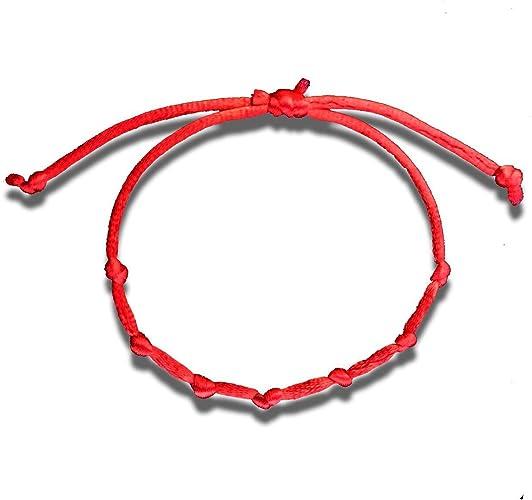 """Pulsera Talisman /""""SUERTE/""""  7 nudos en color rojo ajustables"""