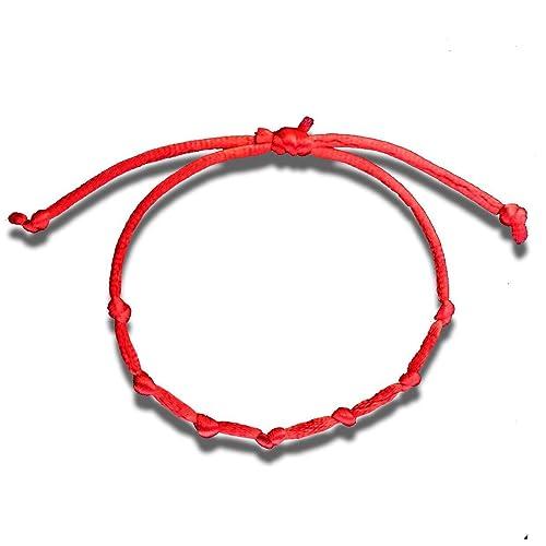 imágenes detalladas dc5d2 3e6d5 Huellas Pulsera cordón 7 Nudos roja Mal de Ojo Amuleto de la Suerte  protección Kabbalah Ajustable