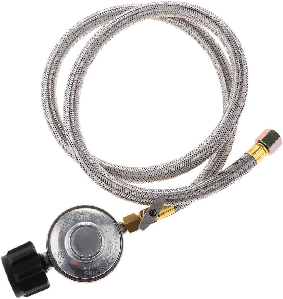 밀라게토 압력 조절 가능한 프로판 레귤레이터 스테인레스 스틸 브레이드 호스 타입 1