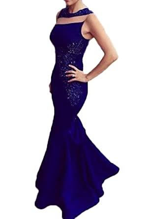 Honey Qiao Royal Blue Mermaid Prom Dresses Long Lace Beading Evening Party Gowns