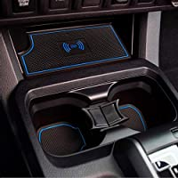 MagicCar Custom Fit Cup, Door Center Console Liner Insert Accessories for Toyota Tacoma 2019 2018 2017 2016 18PC Set (Blue)