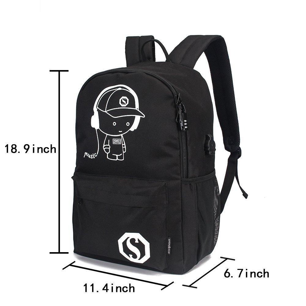 YYCB Anime Luminous Black Backpack Noctilucent School Bags Daypack USB chargeing port Laptop Bag Handbag For Girls Boys Men Women by YYCB (Image #3)