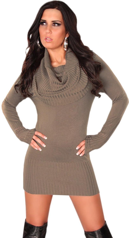 Koucla Damen Strickkleid & Pullover mit weitem Rollkragen Einheitsgröße  (32-40), cappuccino: Amazon.de: Bekleidung