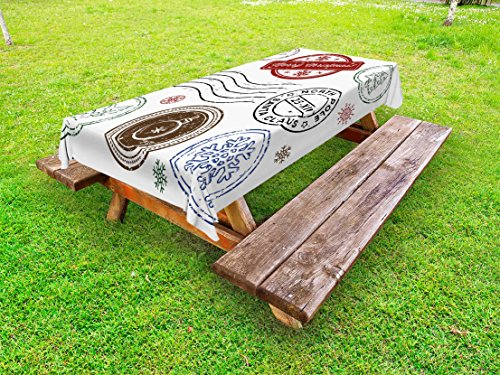 Lunarable Christmas Outdoor Tablecloth, Xmas Stamps with Snowflakes Mistletoe Gingerbread Man North Pole, Decorative Washable Picnic Table Cloth, 58 X 84 Inches, Ruby Chocolate Blue White