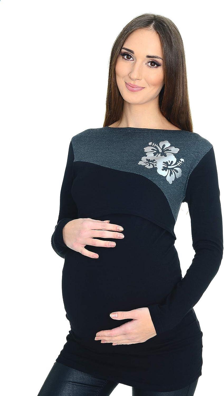 Mija 2 en 1 Top de la Camisa c/ómodo de Maternidad /& Lactancia Manga Larga 9088