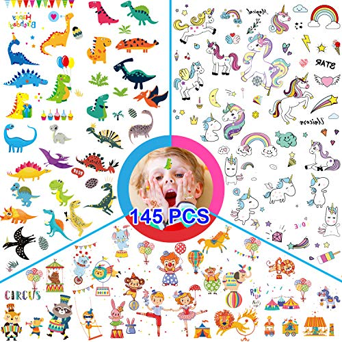 145pcs Temporary Tattoos for Kids, 12 Sheets Featured 3 Series of Fake Waterproof Tattoos for Boys Girls. Circus, unicorn, dinosaur Party Favors Supplies, Birthday Decorations, Halloween Costume