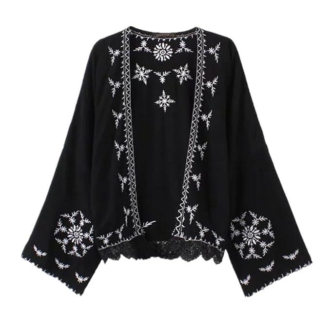 Amazon.com: Estilo japonés Kimono mujer casual chamarra ...