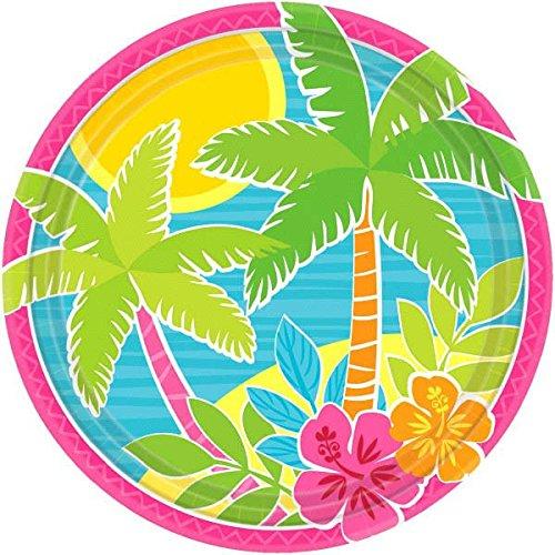 Sun-Sational Summer Luau Party Beach Summer Scene Round Plates Tableware, Paper, 9