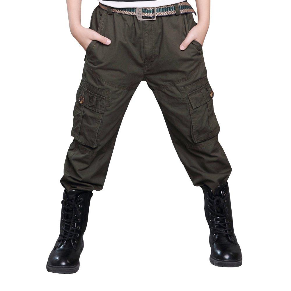 Boy Cargo Pants Casual Trousers Solid Color Slacks