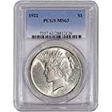 1922 US Peace Silver Dollar $1 MS63 PCGS