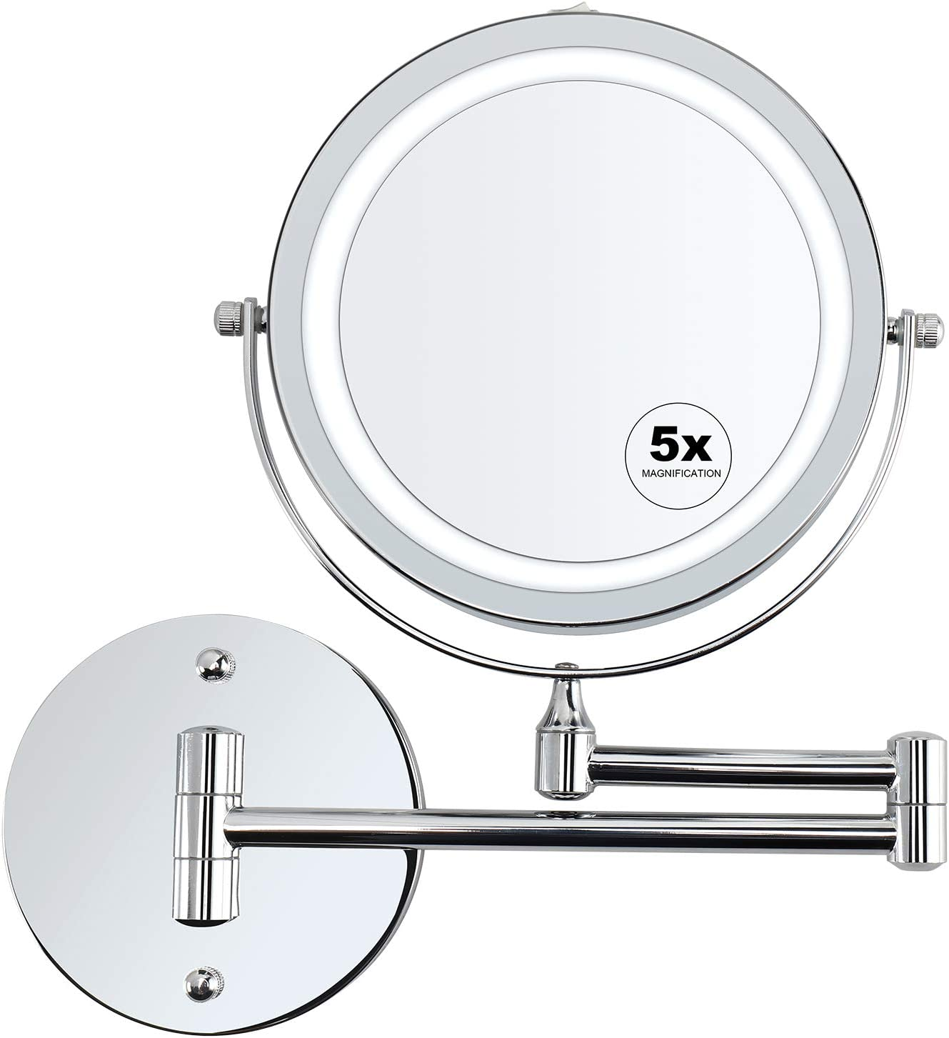 Amazon Com Alvorog Wall Mounted Makeup Mirror Led Lighted 5x Magnifying Cosmetic Mirror 360 Swivel Extendable Two Sided Vanity Mirror For Bathroom Powered By 4 X Aaa Batteries Not Included Home Kitchen