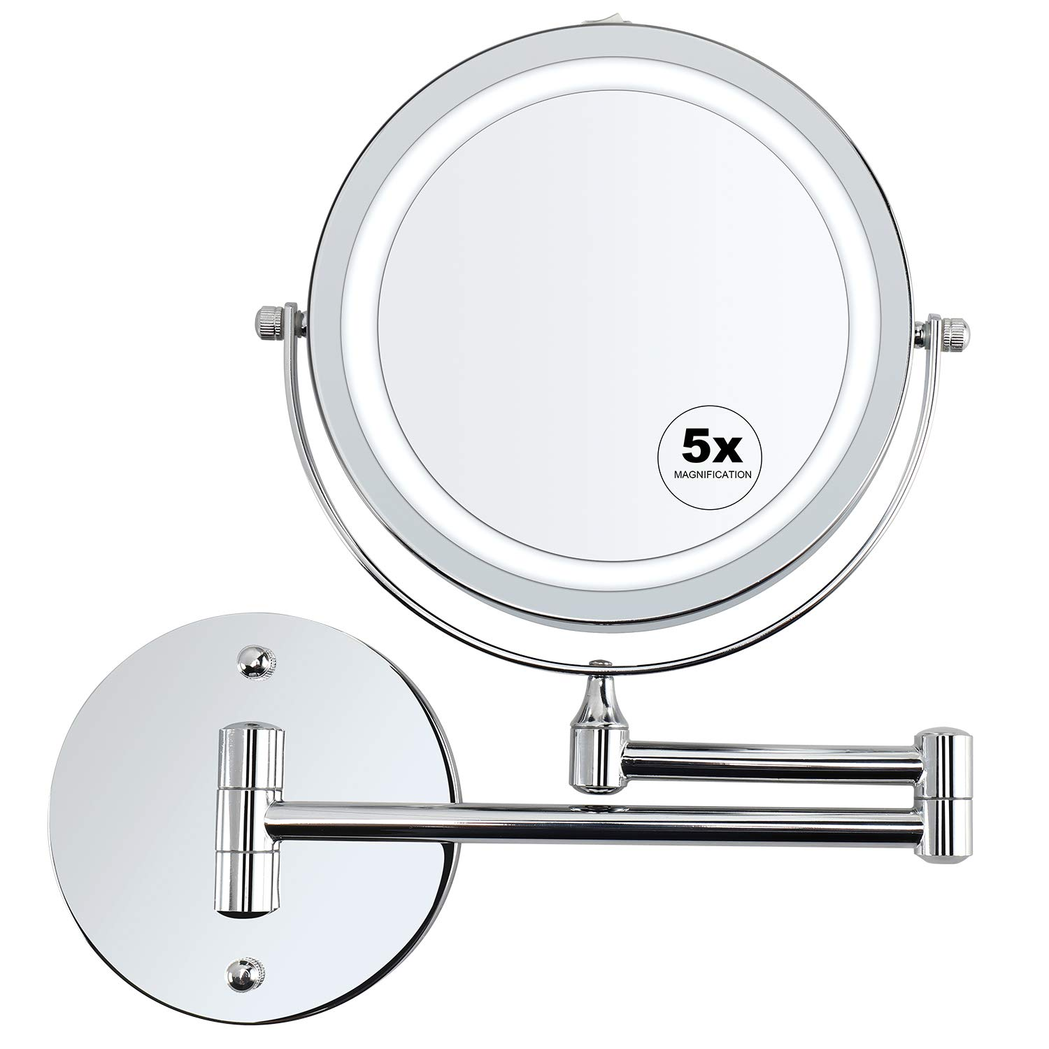 alvorog Wall Mounted Makeup Mirror LED Lighted 5X Magnifying Cosmetic Mirror 360° Swivel Extendable Two Sided Vanity Mirror for Bathroom, Powered by 4 x AAA Batteries (Not Included) by alvorog