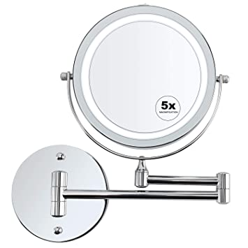 Wall Mounted Magnifying Makeup Mirror.Alvorog Wall Mounted Makeup Mirror Led Lighted 5x Magnifying Cosmetic Mirror 360 Swivel Extendable Two Sided Vanity Mirror For Bathroom Powered By 4