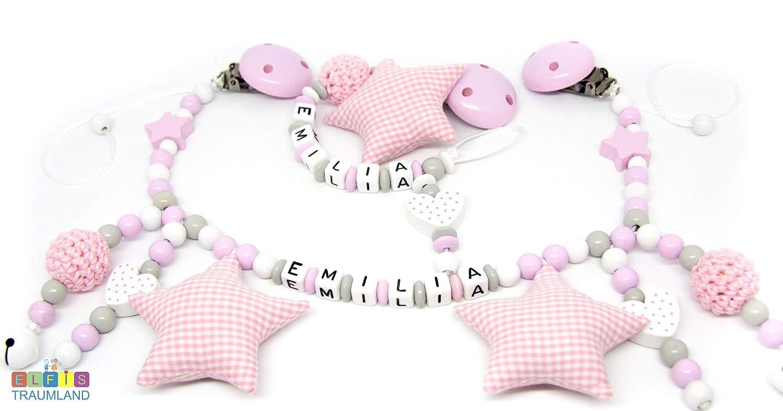 Stern rosa Mädchen Herz Geburt grau Schnullerkette mit Namen
