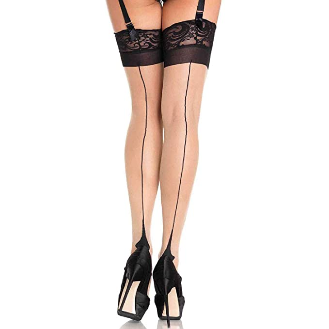8a27964746a Leg Avenue Womens Cuban Heel Backseam Lace Top Thigh Highs  Amazon.ca   Clothing   Accessories