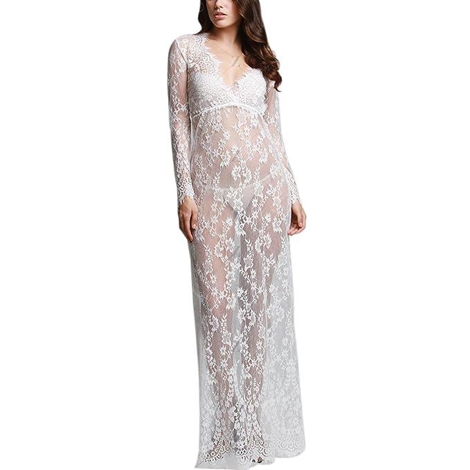 Z Encaje Blanco Profunda V Cuello De Las Mujeres Coctel Ver A Traves Vestido