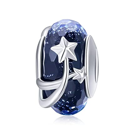 145bf0acf Image Unavailable. Image not available for. Color: Fit Pandora Bracelet  Murano Glass 925 Sterling Silver Snowflake Charm (Blue Snowflakes Bead)