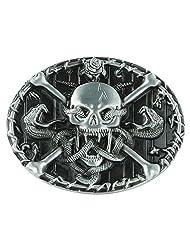 Senmi Skull with Snakes Belt Buckle Silver