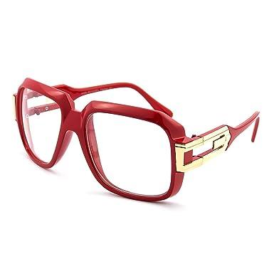 e4576906cf Glasses neutral KISS - OLD SCHOOL mod. BURST - optical frame HIP-HOP man  woman VINTAGE - RED  Amazon.co.uk  Clothing