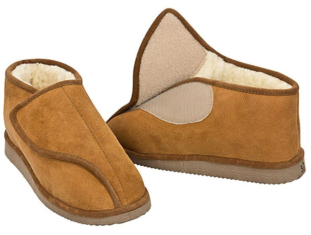 Zapatillas de casa 100% pura lana merina/de cordero merino con velcro – Unisex- Marrón 39 EU