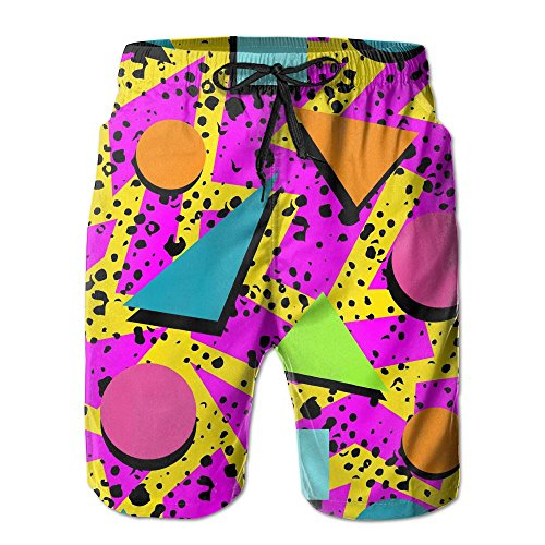Xexe150-y5 Vintage 80s Memphis Men's Summer Surf Swim Trunks Beach Shorts Pants Quick Dry with ()