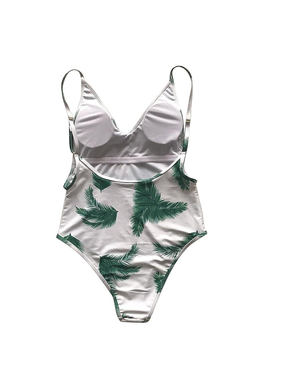 Aiesther Green Leaf Print Deep V One Piece Swimsuit Bathing Suit Beach Swimwear Monokini