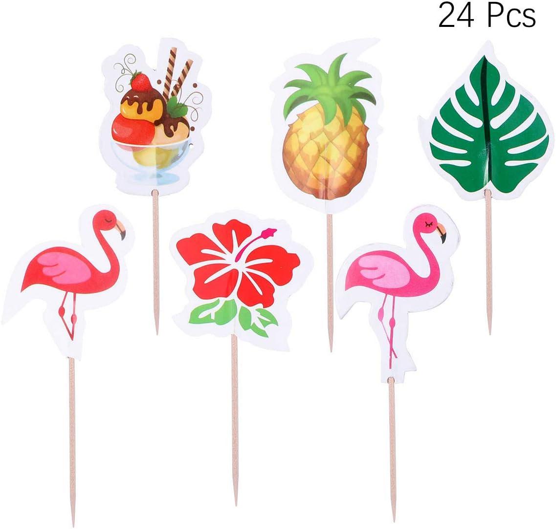 Amosfun Flamingo Ananas Cupcake Topper Picks Papier /À Bricolage Tropical Cake Toppers Mignon Cr/ème Glac/ée Fruits Dessert Pics pour Hawaii Summer Party 72 PCS