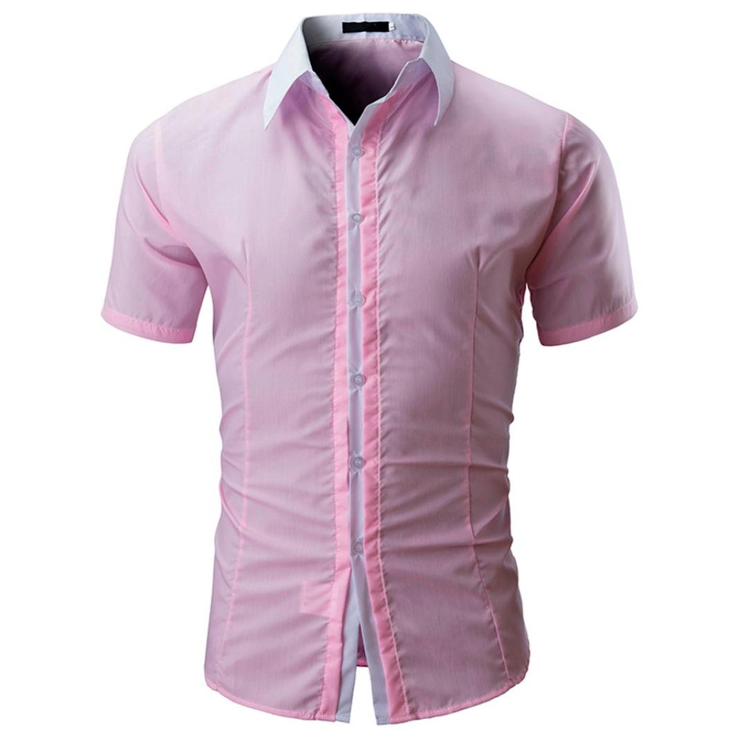 NREALY Men Shirt Fashion Solid Color Male Casual Short Sleeve T-Shirt Vest Tank