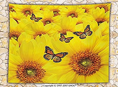 Sunflower Decor Fleece Throw Blanket Sunflower Flowers Atop One Another Butterfly Warm Colors Round Close up Details Fun Design Throw