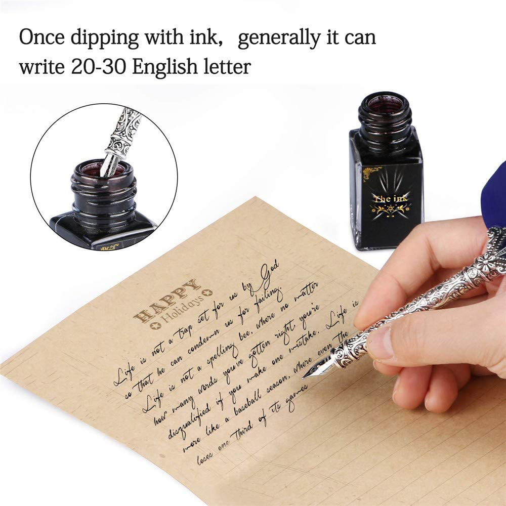 5 Replacement Nibs Blue Retro Style Gift Packaging Collection Quill Feather Dip Pen with Pen Holder Ink Bottle Gift for Birthday Party Festival